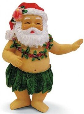 Hawaiian Christmas Ornament Hula Santa
