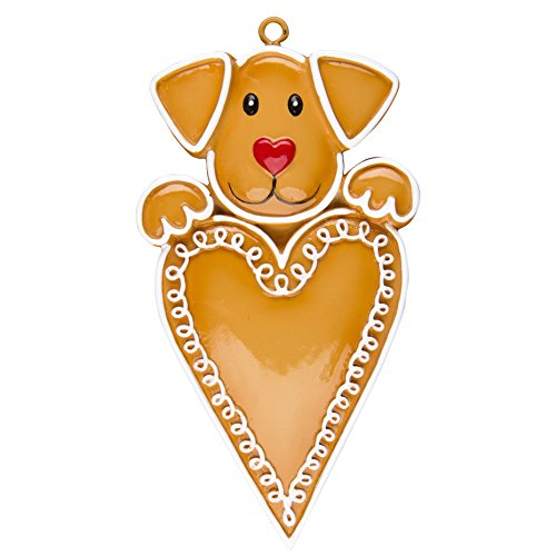 Personalized Christmas Ornament GINGERBREAD DOG WITH HEART