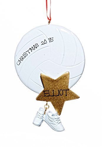 Sports Christmas Holiday Volleyball Ornament-Free Name Personalziation-Shipped In One Day