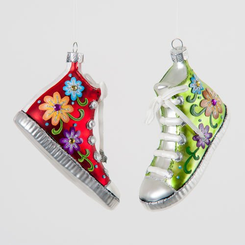 Flower Power TENNIS SHOE Ornaments – set of 2- New sparkling decor