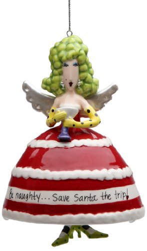 Appletree Design 62670 Be Naughty Save Santa The Trip Ceramic Ornament, 3-1/4 by 4-3/8 by 2-3/4-Inch