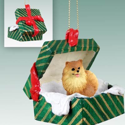 Pomeranian Christmas Ornament Hanging Gift Box