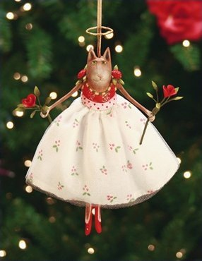 Patience Brewster Grace Rose Cat Ornament – Krinkles Christmas Décor New 08-30556
