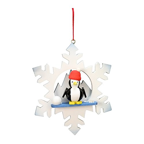 "10-0555 – Christian Ulbricht Ornament – Penguin in Snowflake – 3.5″""H x 3″""W x 1″""D"