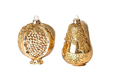 Martha Stewart Christmas Collection Decor Set of 4 Pear and Pomegranate Fruit Ornament Gold Color
