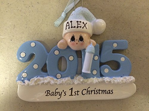 Personalized Baby's First Christmas Ornament 2015 – Blue/boy – Free Personalization …