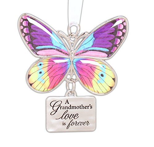 Ganz 2″ Beautiful Zinc Butterfly Ornament with Sentiment Featuring White Organza Ribbon for Hanging (Grandmother)