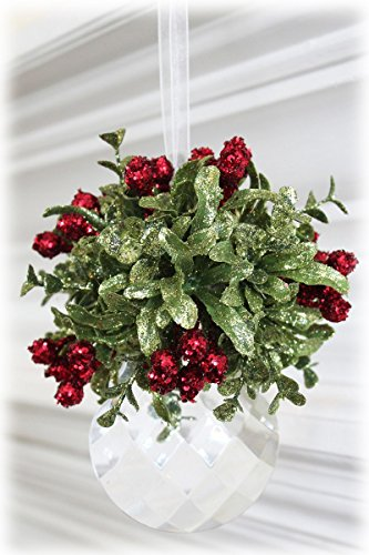 Glittery Hanging Christmas Mistletoe on Faceted Acrylic Prism Ornament (Flat Leaf)