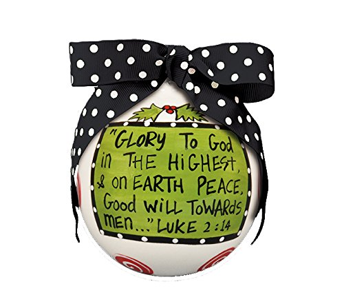 "Hand Painted ""Glory To GOD"" Hanging Christmas Tree Ornament"