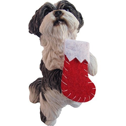 Sandicast Silver and White Shih Tzu Holding Stocking Christmas Ornament by Sandicast