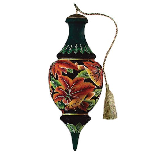 Poinsettia Hand Painted Glass Ornament