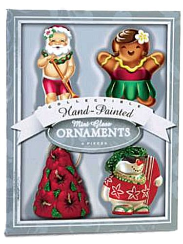 HAWAIIAN ISLAND CHRISTMAS MINI BLOWN GLASS ORNAMENTS -SET OF 4