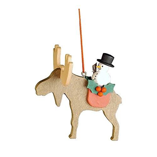 "10-0463 – Christian Ulbricht Ornament – Snowman on Elk – 3″""H x 3.25″""W x 3.25″""D"