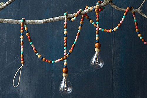 One Hundred 80 Degrees Natural Bead 46″ Garland with Lightbulbs