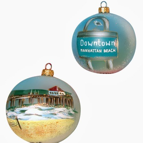 Ornaments To Remember Manhattan Beach (Pier/Street Sign) Hand-Blown Glass Ornament