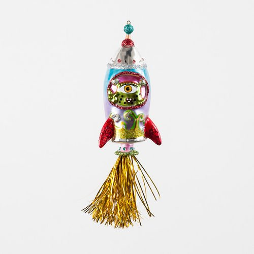 Outer Space Alien in Rocket Ship Glass Christmas Ornament, 7.25 Inches