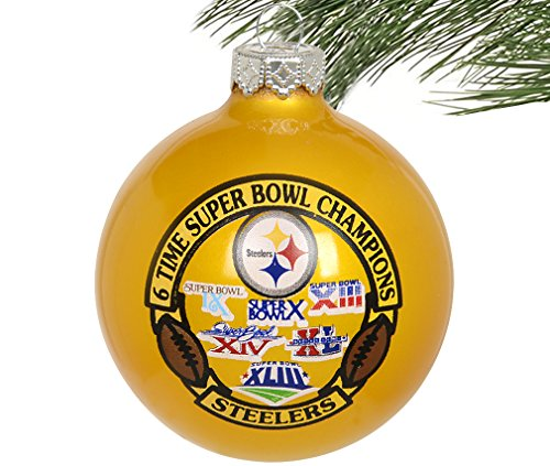 NFL Pittsburgh Steelers- Super Bowl Champions- Commemorative Glass Ball Christmas Ornament- 2 3/4″-6 Time Super Bowl Champs-Yellow