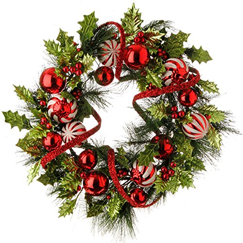 Raz 24″ Holiday Holly Pine & Ball Ornaments Red / Green Christmas Wreath