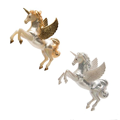 One Hundred 80 Degrees Gold Silver Pegasus Unicorn Ornaments (Set/2)