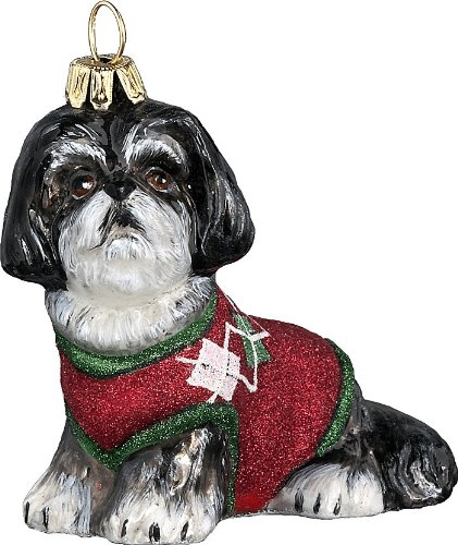 The Pet Set Diva Dog Blown Glass European Dog Ornament by Joy to the World Collectibes – Black and White Shih Tzu with Argyle Sweater
