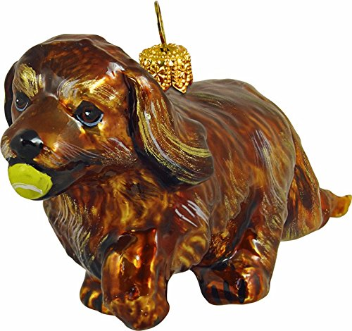 The Pet Set Blown Glass European Dog Ornament by Joy to the World Collectibles – Ruby Cavalier King Charles Spaniel Dog with Tennis Ball
