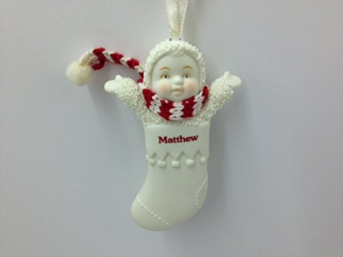 Snowbabies Personalized Name Christmas Stocking Ornament – Matthew – 3.25″