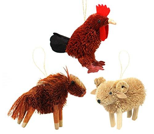 Martha Stewart Bristle Brush Farmyard Horse, Ram, and Rooster Buri Animal Ornaments (Set of 3)
