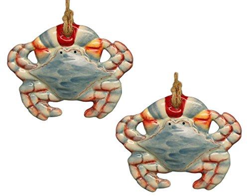 Coastal Maryland Blue Crab Ceramic Christmas Holiday Ornament Set of 2