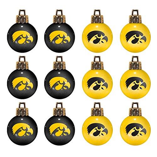 NCAA Iowa Hawkeyes 12-Pack Mini Ball Ornaments made of Durable Plastic, Miniature, Black