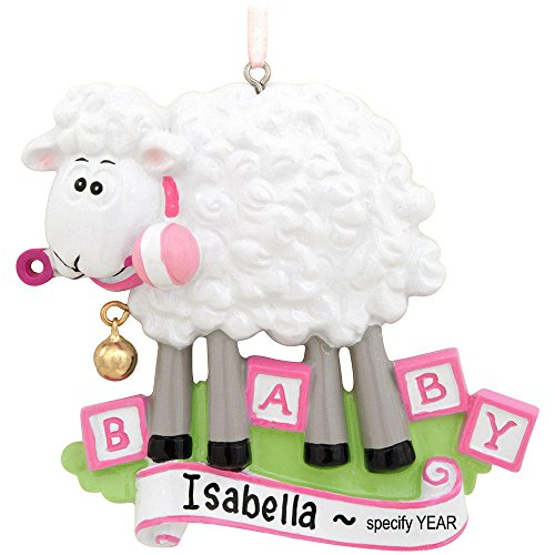 Baby Sheep Pink Personalized Christmas Tree Ornament
