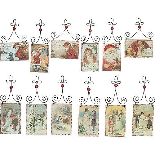 Nostalgic Vintage Santa and Snowmen Christmas Postcard Ornaments – Set of 12