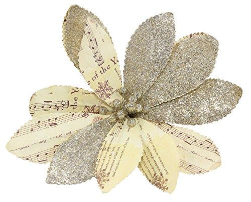 Vintage Sheet Music Paper & Glitter Poinsettia 8-inch Christmas Ornament Clip