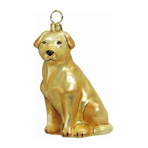 Joy to the World Collectibles European Blown Glass Pet Ornament, Labrador Retriever, Yellow