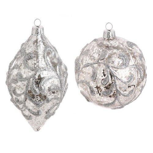 RAZ Imports – Glass Mercury Silver Ball and Drop Ornaments