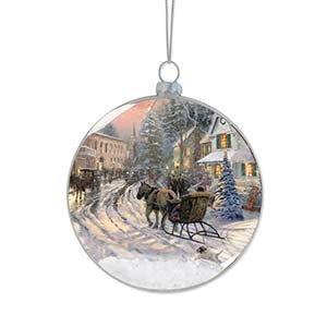 Enesco Thomas Kincaid Painter of Light Christmas Celebration Sleigh Ornament, 3.875-Inch