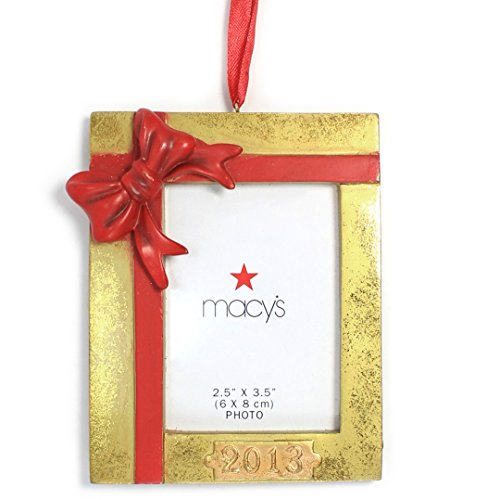 Holiday Lane Gold with Red Bow Photo Frame Christmas Ornament (2013)
