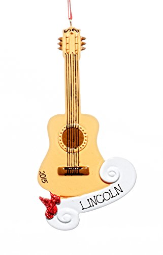 Muscial Christmas Holiday Classic Guitar Ornaments-Free Name Personalized-Shipped In One Day