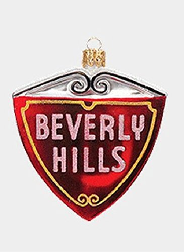 Red Beverly Hills Street Sign Polish Mouth Blown Glass Christmas Ornament
