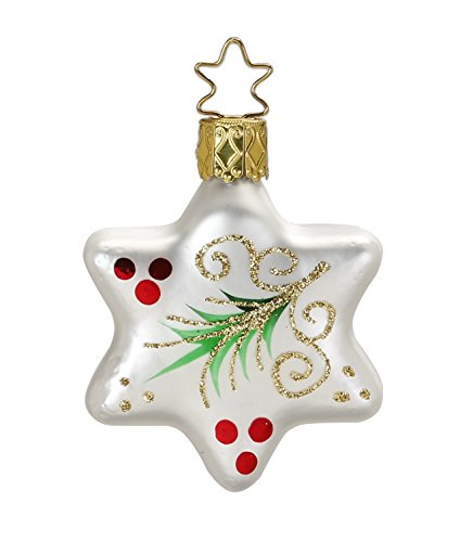 Evergreen, Star, white matt, #20000T050, from the 2015 Evergreens Collection by Inge-Glas Manufaktur; Gift Box Included