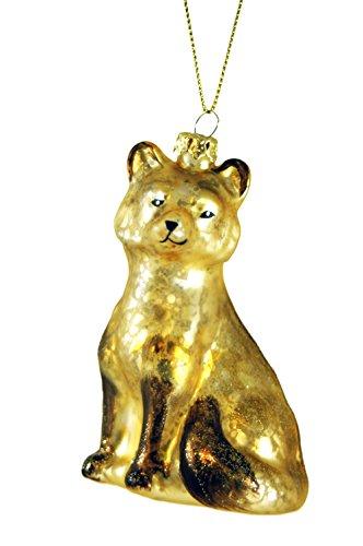 Glass Gold Snow Fox Hanging Christmas Tree Ornament