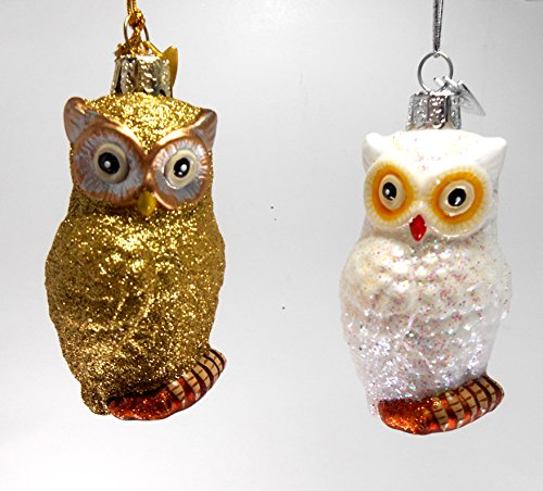 Kurt Adler 3″ Noble Gems Glass Owl Christmas Ornaments, Set of 2