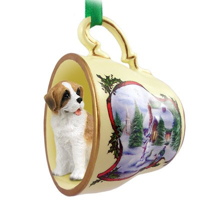 Saint Bernard W/rough Coat Tea Cup Snowman Holiday Ornament
