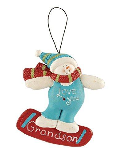 Blossom Bucket Grandson Snowman Ornament Christmas Decor, 4-1/2″ High