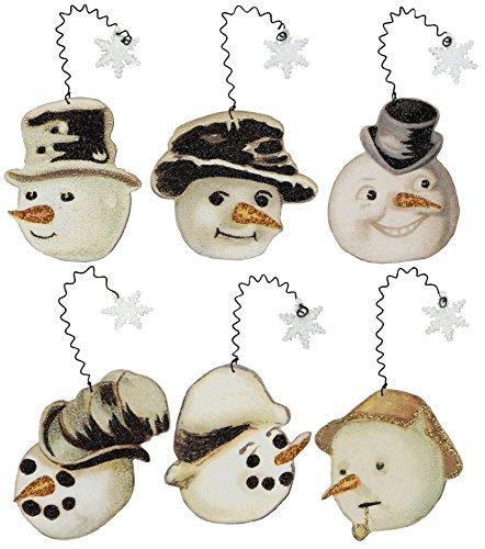 Primitives by Kathy Vintage Ornaments (Set of 6), Snowmen