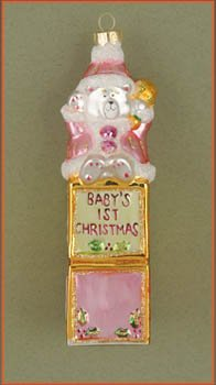 Margaret Cobane Glass Ornament – Baby's First Christmas Bear Pink