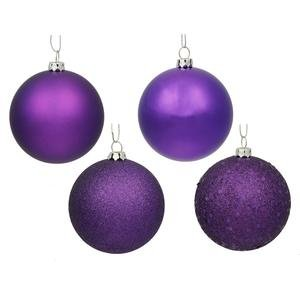 Vickerman 4 Finish Ornaments, 3-Inch, Purple, 16-Pack