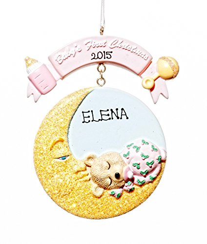 Baby Holiday Christmas Baby Moon Pink Tree Ornament-Free Names Personalized-Shipped In One Day