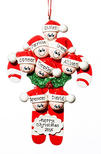 Family 8 (eight) Person Personalized Candy Cane Holiday Christmas Tree Ornament-Free Names Personalized – Shipped In One Day