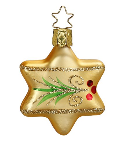 Evergreen, Star, inkagold, #20001T050, from the 2015 Evergreens Collection by Inge-Glas Manufaktur; Gift Box Included