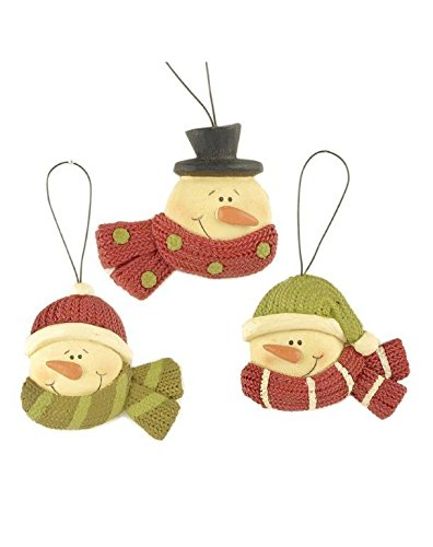 Blossom Bucket Snowmen with Scarves Ornaments Christmas Decor (Set of 3), 3-1/2″ High